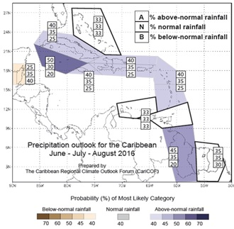 Precipitation Outlook for the Caribbean June - August 2016
