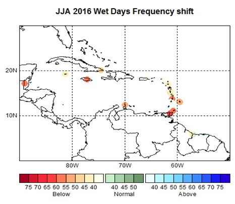 June - August 2016 Wet Days Frequency Shift