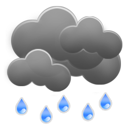 Cloudy with light showers and gusty winds