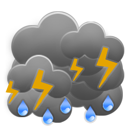 Cloudy to overcast and breezy with showers and possible isolated thunderstorms
